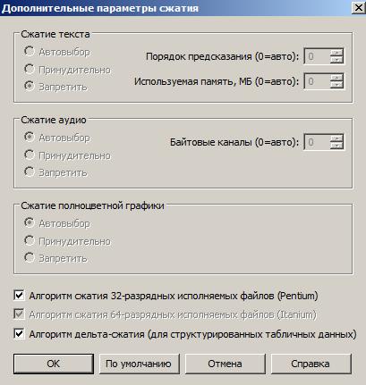 RAR 5.0 - дополнительные параметры сжатия